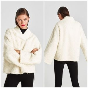 Zara Ivory V-Neck Fuzzy Boucle Oversized Sweater